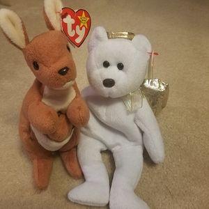 Ty Beanie Babies Halo II Gold White Angel Bear